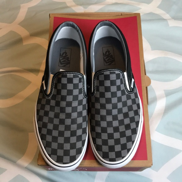 35b247f4d8 Vans men classic slip-on black Pewter checkerboard.  M 5c413f16409c150ff4ae78e5